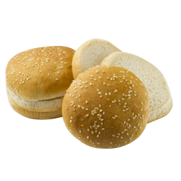 "Double Decker Seeded Hamburger Bun 4"" 10-12ct Sliced"
