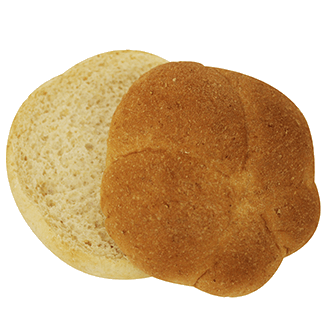 "Whole Grain White Wheat Kaiser Bun 4"" 10-12ct Sliced 2"